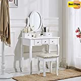 Schindora White Dressing Table and Chair Makeup Desk with Stool 5 Drawers and Oval Mirror Bedroom
