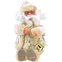 Sitting Santa Claus Tabletop Decoration Christmas Figure Figurine Decoration Holiday Home Party Decoration Christmas Gift 1 Pics (White)