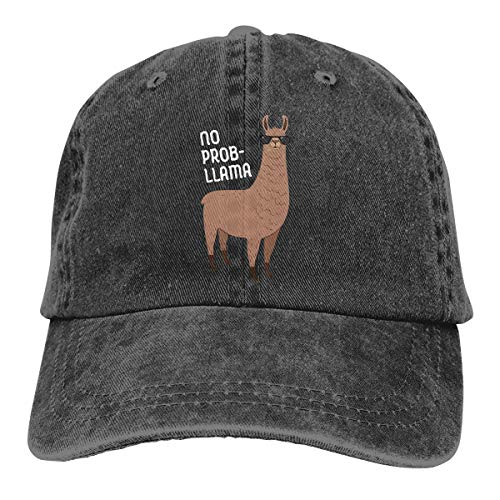 No Problem Llama Unisex Baseball Cap Classic Cotton Adjustable Plain Cap Black