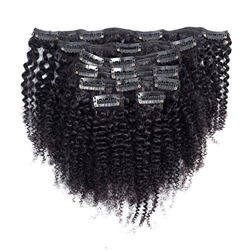 Afro Kinky Curly Hair Extensions Clip ins for Black Women Good Quality 4B 4C Hair Human Hair Double Weft Brazilian Virgin Hair 7Pc/set 100Gram 10