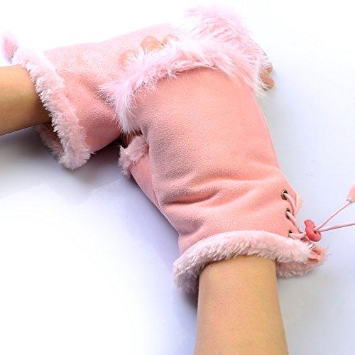 HotEnergy Fashion Women's Real Rabbit Fur Hand Wrist Warmer Fingerless Winter Gloves (pink)