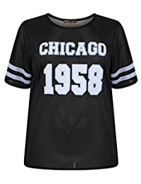 Chocolate Pickle New Womens Black Airtech Baseball Print Stripe Baggy Sports Top