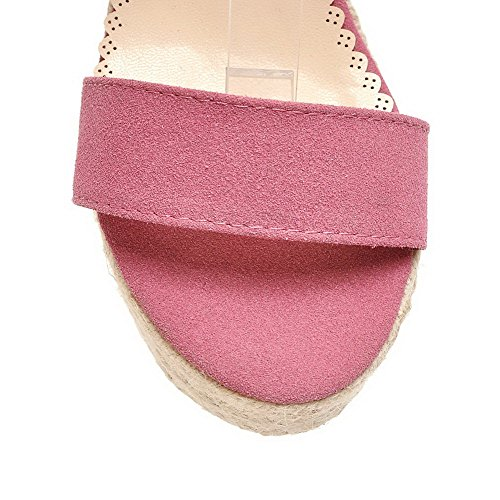 High Buckle Heels Solid Toe Open Imitated VogueZone009 Women's Sandals Rosered Suede xpq7wUS1H