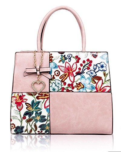 Bag Womens Charm Pink Large Heart Handbag Crystal Shoulder Floral Bow Tote New Patent qxCdzq