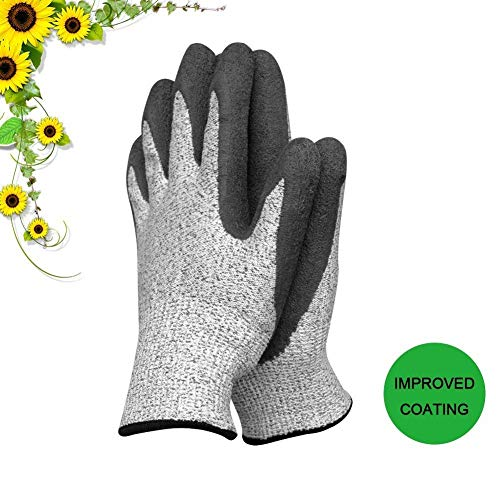 slashome Garden Gloves for Women and Men Super Grippy with Special Protective Coating Against Cuts and Dirt Premium Breathable Waterproof Work Glove for Gardening, Fishing, Clamming, 1Pair(Large) - Waterproof Gloves Gardening
