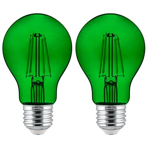 (Sunlite 81083 Led Filament A19 Standard 4.5 (60 Watt Equivalent) Colored Transparent Dimmable Light Bulb, 2 Pack, Green)