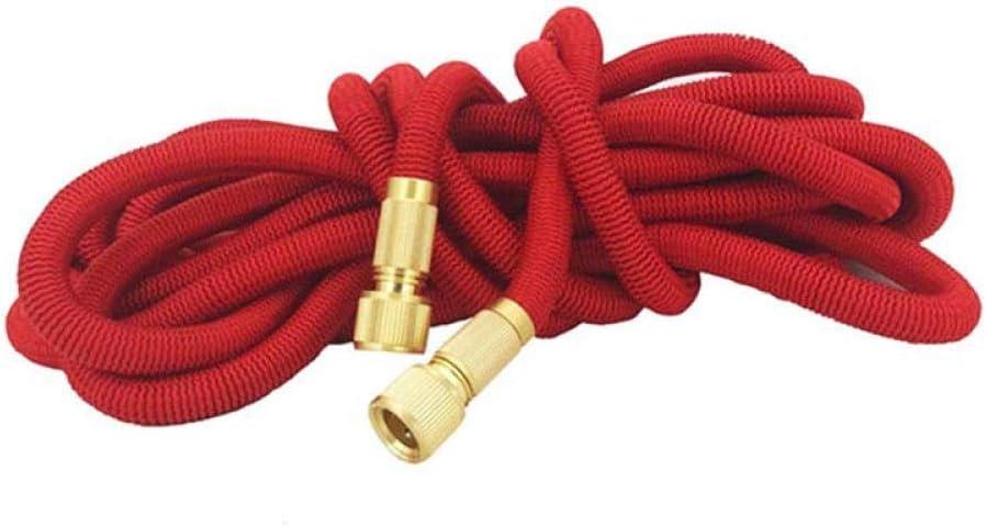 garden hose expandable, Retractable 3 times flexible water hose, metal spray Sprinkler For courtyard gardens red