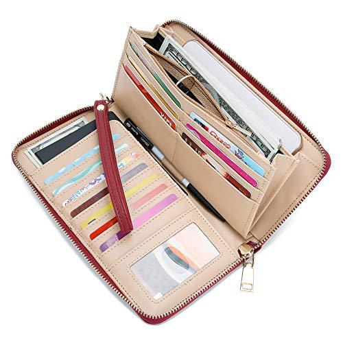 WOZEAH Women's RFID Blocking PU Leather Zip Around Wallet Clutch Large Travel Purse (A red) (Epi Billfold Leather)