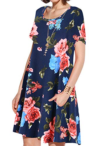 (JollieLovin Women's Pockets Casual Swing Loose T-Shirt Dress (6-Navy Blue, L))