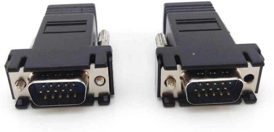 2pcs VGA RJ45 Cable Male to Network Adapter Extend Video Over Network CAT5 Ethernet