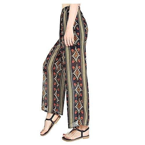 Baggy Lunga Alta Pantaloni Stampate Eleganti Moda Doppio Ragazza Donna Tempo Estivi Elastica 6 Dritti Pattern Spacco Libero Basic Strato Chiffon Colore r0r6nOx