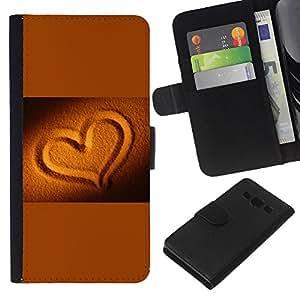 Planetar® Modelo colorido cuero carpeta tirón caso cubierta piel Holster Funda protección Para Samsung Galaxy A3 / SM-A300 ( Gold Sand Brown Romantic Love )