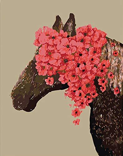 Gaepni Horse Head Colors Watercoloful Coloreando por Números con Paquete De Colores Mientras Que Los Niños Hacen Colores De Regalo, Hazlo Tú Mismo En Un Lienzo