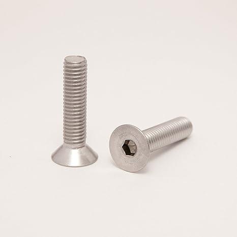 Eisenwaren2000 Vollgewinde rostfrei ISO 10642 Senkkopf Schrauben Edelstahl A2 V2A M6 x 65 mm Senkkopfschrauben mit Innensechskant Gewindeschrauben 10 St/ück - DIN 7991
