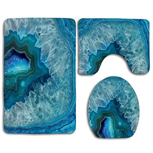 Black Rug Gem - EnmindonglJHO Aqua Turquoise Agate Mineral Gemstone Bathroom Rug Mats Set 3 Piece Toilet Carpet Rugs Includes Contour Mat and Lid Cover, Non Slip Mats for Tub Shower
