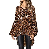 Devon Aoki Leopard Print Fashion Women Long Sleeve Loose T Shirt Outwear Blouse Tops Shirts Khaki