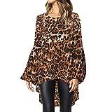 Devon Aoki Leopard Print Fashion Women Long Sleeve Loose T Shirt Outwear Blouse Tops Shirts Khaki