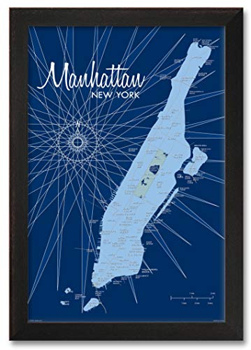 Manhattan Map Vintage-Style Art Print Lakebound . Profession