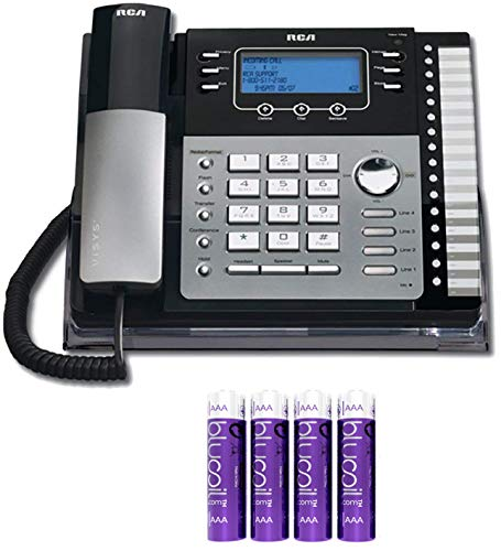 RCA 25424RE1 4-Line Expandable Phone System - Office Desk Telephone with Built-in Caller ID and Intercom Bundle with 4 Blucoil AA ()