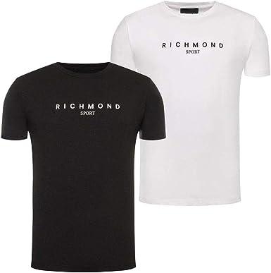 Camiseta de Hombre Richmond Sport de Tela Blanca UMA19006TS ...
