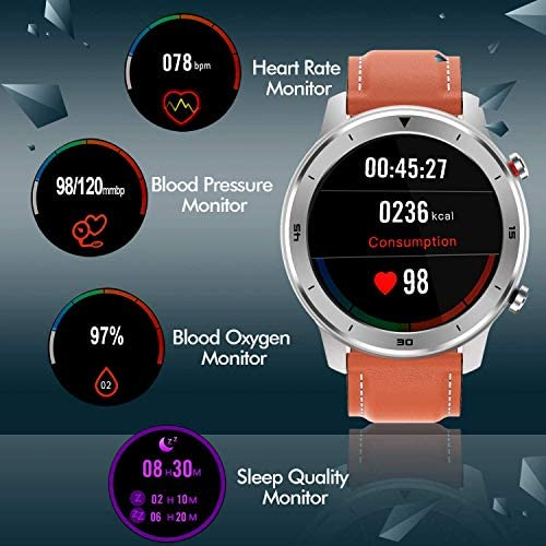Smart Watch, Popglory Smartwatch HR, Touchscreen 1.3″ Fitness Watch with Blood Pressure Monitor, IP68 Waterproof Fitness Watch, 15 Days Battery Life Compatible with Android Phones and iPhone 519uYDE8ipL