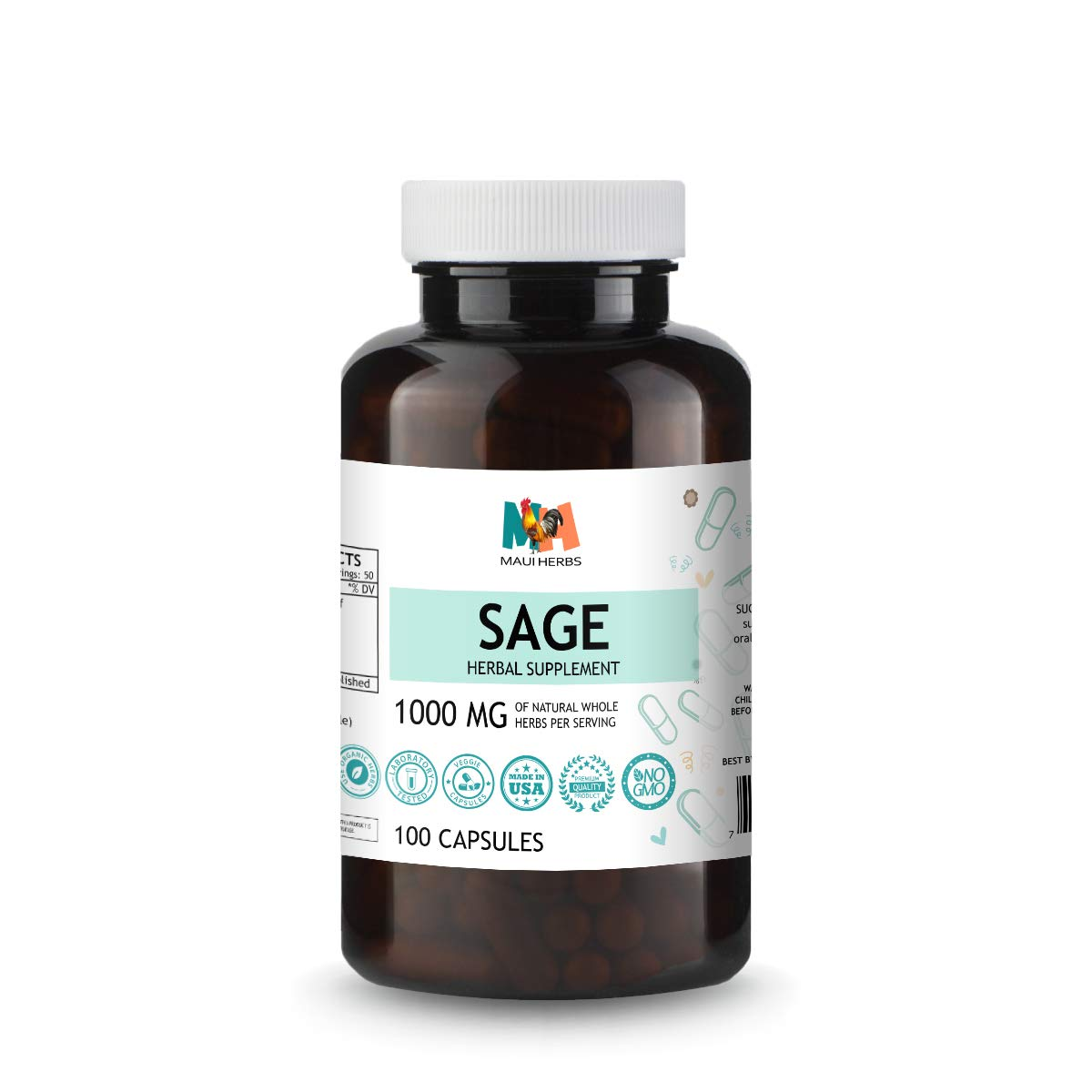 Sage Capsules, 500 mg, Organic Sage Leaf (Salvia officinalis) (100 capsules)