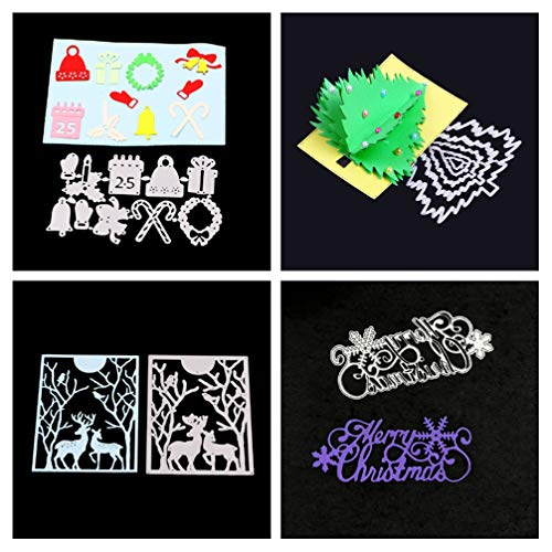 Meslio 4pcs Christmas Cutting Dies for Card Making, Metal Stencil Template for DIY Scrapbook Album Paper Card Making Craft Decoration (Christmas Tree,Fawn,Bell Gift Combination,Merry Christmas Words)