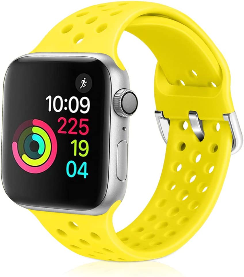 XFYELE Compatible with Apple Watch Band 38mm 40mm, Soft Breathable Sport Silicone Replacement Strap Compatible for iWatch Series 6, 5, 4, 3, 2, 1 for Women and Men (Shiny Yellow, 38mm/40mm)
