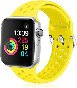 XFYELE Compatible with Apple Watch Band 42mm 44mm, Soft Breathable Sport Silicone Replacement Strap Compatible for iWatch Series 6, 5, 4, 3, 2, 1 for Women and Men (Shiny Yellow, 42mm/44mm)
