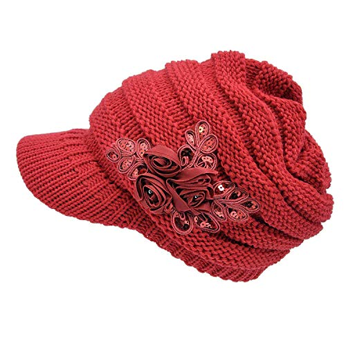 NYKKOLA Women Cable Knit Winter Warm Beanie Hats Newsboy Cap Visor with Sequined Flower - Red -