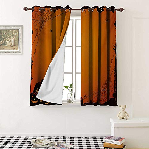 Halloween Blackout Draperies for Bedroom Grunge Spider Web Jack o Lanterns Horror Time of Year Trick or Treat Print Curtains Kitchen Valance W72 x L63 Inch Orange Seal Brown