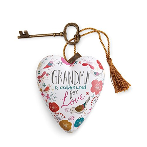 DEMDACO Grandma Floral Motif 4 x 3 Heart Shaped Resin Keepsake Decoration