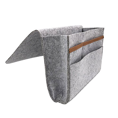 - Bedside Caddy Organizer,Grey Bedside Caddy with 1 Large and 3 Small Pockets,Hanging Bedside Caddy for Book,Laptop,Tablet,Cellphone,Remotes(Light Gray)