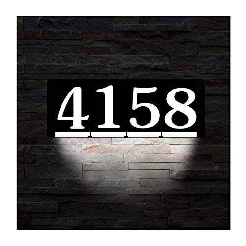 HOMIDEA Backlit LED House Number and Sound Activated Overhead Light. Personalized Large Black and White Modern Address Number Sign/Custom Street Number ()