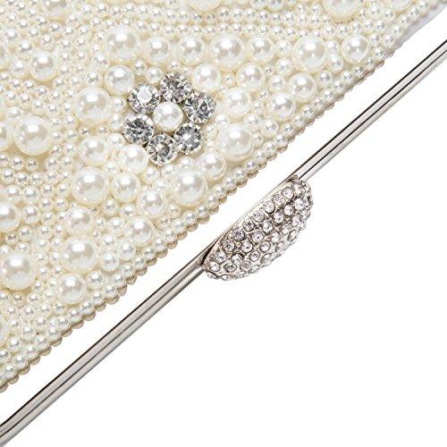Lifewish Borsa di modo della frizione di sera del Rhinestone del branello della perla delle donne con la catena