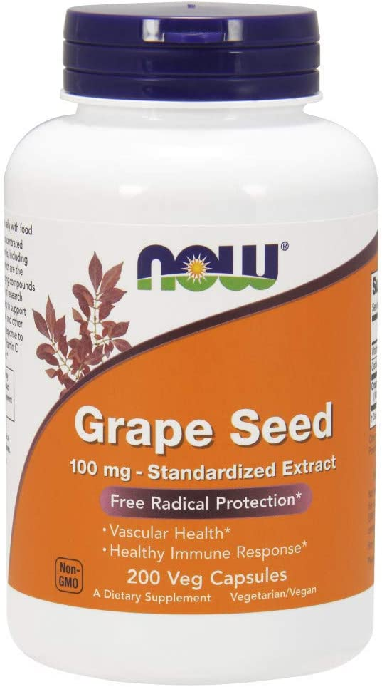 NOW Supplements, Grape Seed 100 mg - Standardized Extract, Highly Concentrated Extract with a Minimum of 90% Polyphenols, with Vitamin C, 200 Veg Capsules: Health & Personal Care
