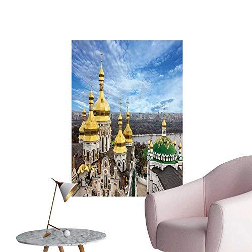 "SeptSonne Wall Stickers for Living Room Kiev Ukraine Cupola pechersk lavra Monastery River Vinyl Wall Stickers Print,32"" W x 56"" L"