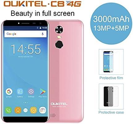 OUKITEL C8 Smartphone Libre (Versión 4G),5.5 Pulgada Android 7.0 ...