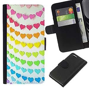 WINCASE Cuadro Funda Voltear Cuero Ranura Tarjetas TPU Carcasas Protectora Cover Case Para Apple Iphone 5C - arco iris de color naranja rosa teal patrón de líneas de papel