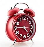 FLOSI(TM) Classical Retro Twin Bell Mute Silent Quartz Alarm Clock Non-ticking Bedside Desk Loud Alarm Clock and Nightlight 3D Number