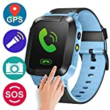 GBD GPS Tracker Kids Smart Watch for Children Girls Boys Summer Outdoor Birthday with Camera SIM Calls Anti-lost SOS Smartwatch Bracelet for iPhone Android Smartphone (Blue)