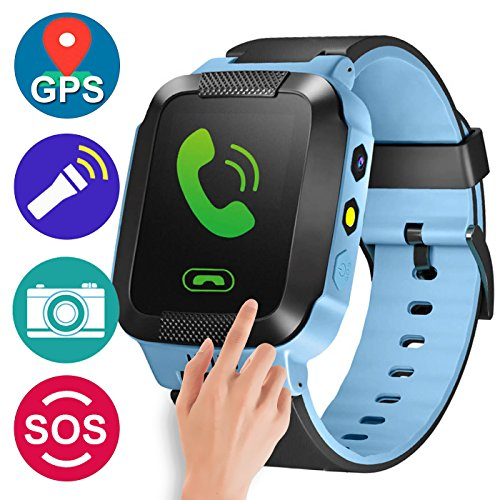 GBD GPS Tracker Kids Smart Watch for Children Girls Boys Summer Outdoor Birthday Prime Gifts with Camera SIM Calls Anti-lost SOS Smartwatch Bracelet for iPhone Android Smartphone (Blue)