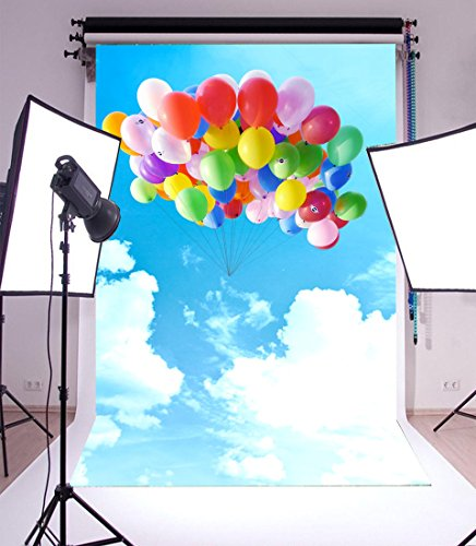 Laeacco Vinyl Thin Backdrop 5x7FT Photography Background Blue Sky White Clouds Colorful Balloons Flying Celebration Party Theme Background 1.5(W) x2.2(H) m Backdrop for Video Photo Studio Props
