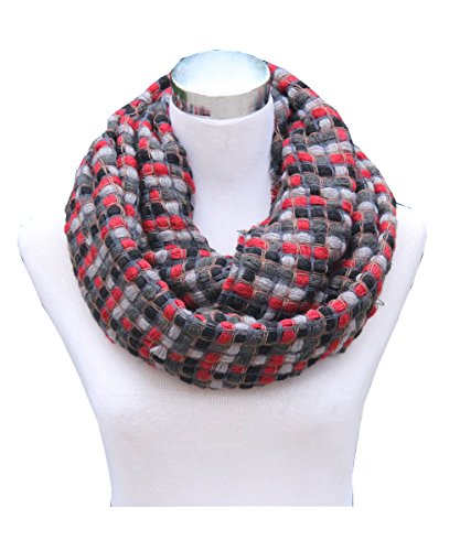 Lucky Leaf Women Winter Multicolored Infinity Loop Scarf Gien Check Pattern (Knitting Grey Red)