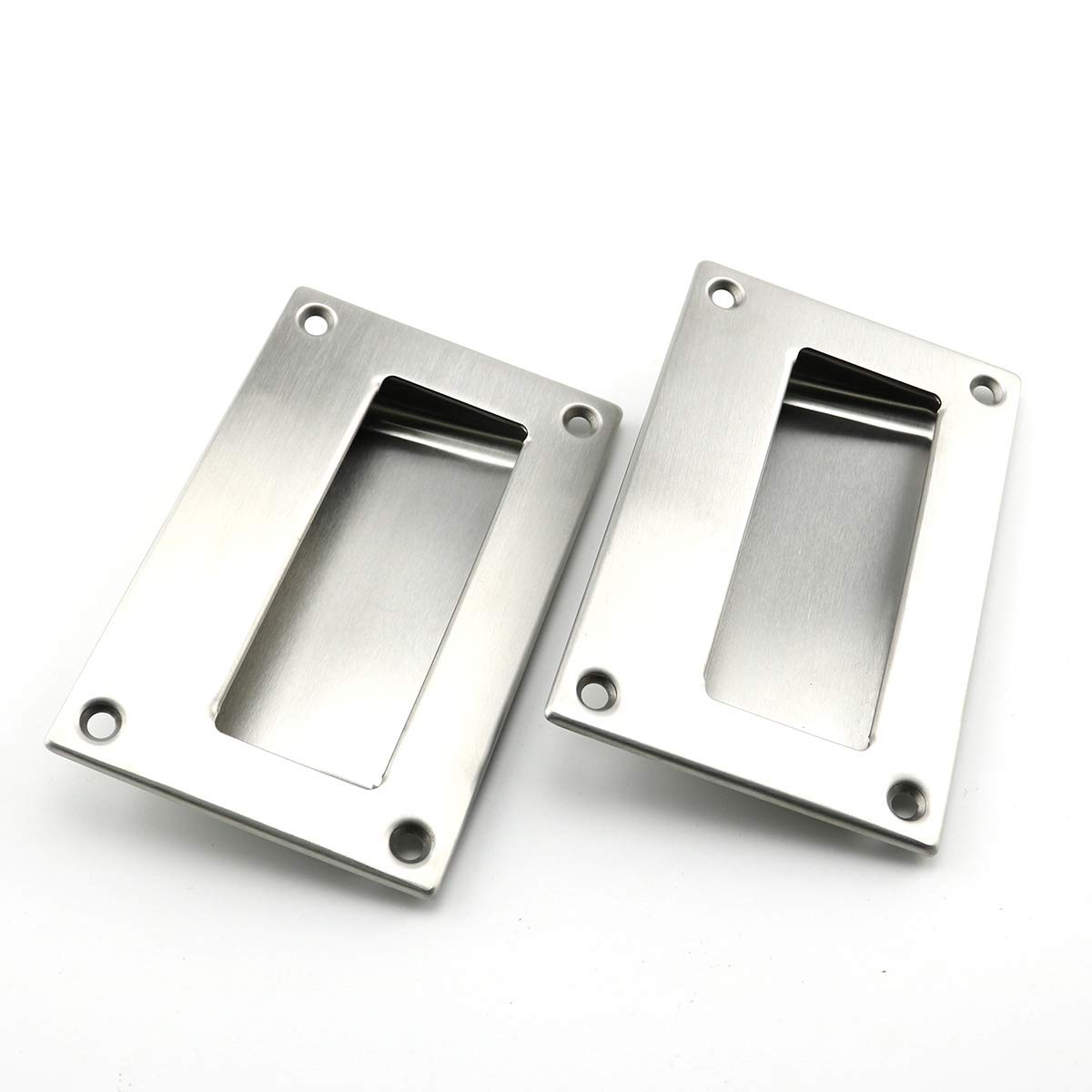 Heyous 2pcs 5x3.2 inch Hidden Recessed Pull Handle Stainless Steel Square Flush Concealed Furniture Handle for Door Drawer Cupboard Cabinet Sliding Door