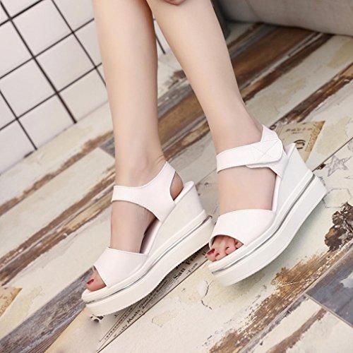Toe Platform Sandals hunpta Heels Shoes Open Women High Sandals Beige Wedges P00H5qw