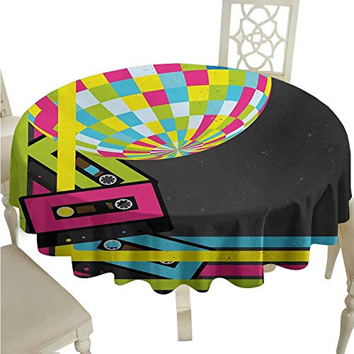 duommhome Popstar Party Oil-Proof Tablecloth Retro Party Theme Disco Ball 80s Style Audio Cassette Tapes Colorful Stripes Easy Care D43 Multicolor (Best Cassette For 52 36)