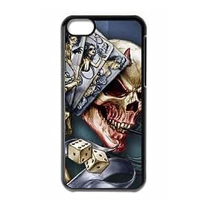 iPhone 5c Cell Phone Case Black Devil Poker Skull GY9210813