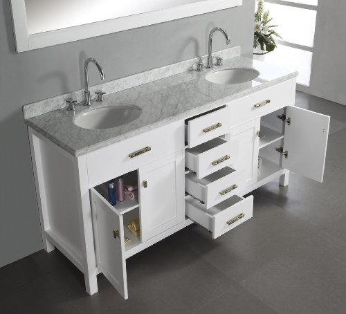 virtu usa caroline 72inch double sink bathroom vanity with italian white carrera marble countertop and mirror white finish amazoncom