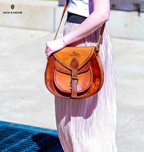 NICK  NICHE Genuine Leather Handmade Purse Crossbody Shoulder Bag Travel Satchel Women Handbag Ipad Bag 11L 10H inches …